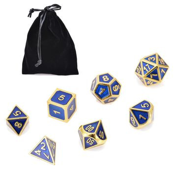 Hot Sale 7x Antique Metal Polyhedral Dice Dungeons & Dragons Role Playing Party Bar Game With Bag Gold & Blue Color Outdoor Tool