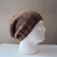 Men's Slouchy Knit Hat Celebrity Hat Ashton Kutcher Style Slouchy Beanie Knit Hat Taupe/Brown Chunky Hat  Father's Day Gift Ideas