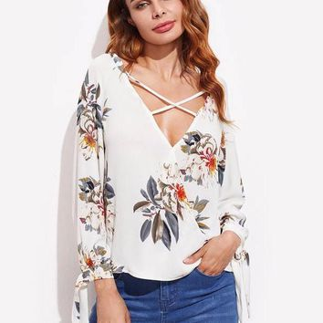 Bow Tie Sleeve Floral Chiffon Top