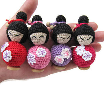 bendy doll wooden toy tiny asian doll's doll pocket kokeshi natural beaded baby doll organic baby girl gift for her kidness toys for sister
