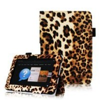Fintie (Leopard Brown) Leather Folio Stand Case Cover With Automatic Sleep/Wake Feature for Kindle Fire HD 7 Inch Android Tablet-9 Style Options