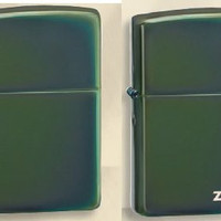 Zippo Lighter Set - Chameleon Shiny Green and with Zippo Logo