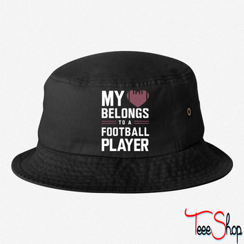 My heart belongs to a football player bucket hat