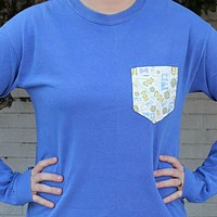 Theta Phi Alpha Long Sleeve Tee Shirt in Neon Blue with Pattern Pocket by the Frat Collection