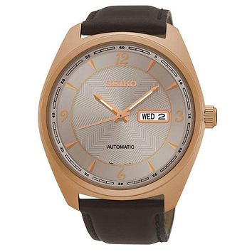 Seiko Mens Recraft Automatic Day/Date Watch - Gray Dial - Rose-Tone - Leather