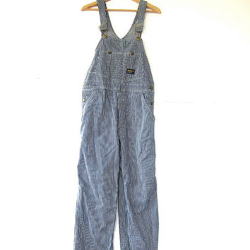 Vintage Jean Bib Overalls. Pinstriped Carpenter Pants. OSH KOSH