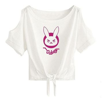 Overwatch Dva Bunny Open Shoulder Tied Crop Top