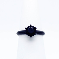 Black stone sterling silver ring