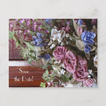 Save Date 8th Anniversary Party Floral Postcard