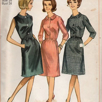 Retro Mad Men Style Simplicity 60s Sewing Pattern Casual Day Dress Secretary Style Dart Fitted Tie Waist Mod Retro Fashion Bust 34 Uncut