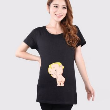 2016 Summer Cute Funny Maternity Shirts Pregnant Women Tops Tees Clothes Black Premama Wear Clothing Pregnancy T Shirt HOT SALE