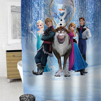 disney frozen Custom Shower Curtain Funny Shower Curtain size 36x72,48x72,60x72,66x72