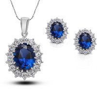 Sapphire Blue Gemstone and Rhinestone Oval Necklace and Earrings