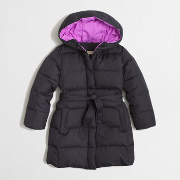 FACTORY GIRLS' LONG BELTED PUFFER JACKET