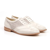 Beyond Skin Nude print vegan oxford lace up brogue shoe