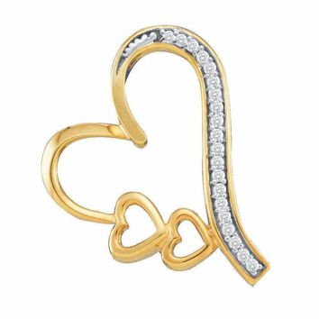10kt Yellow Gold Women's Round Diamond Triple Trinity Heart Pendant 1-12 Cttw - FREE Shipping (US/CAN)