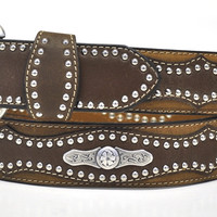 Nocona Men's Western Concho Leather Belt-Brown