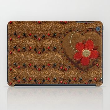 Brown heart iPad Case by Bozena Wojtaszek