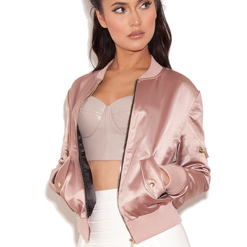 Clothing : Jackets : 'Dena' Rose Gold Satin Bomber Jacket