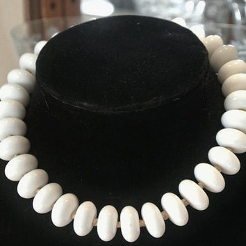 1940s Milk Glass Necklace Choker Japan Chunky Beads Beaded Hand Knotted Strung Art Glass Milklgass Antique Wedding Bride Bridal Art Glass