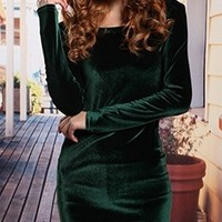 Dark Green Soft Velvet Round Neck Long Sleeve Fitted Mini Dress