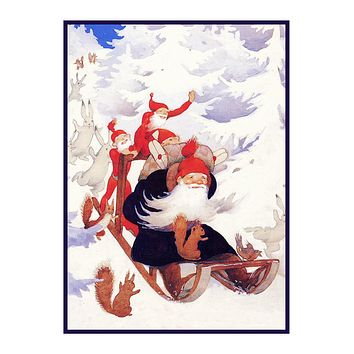Father Christmas and Elves Sledding Holiday Christmas by Rudolf Koivu Counted Cross Stitch Pattern
