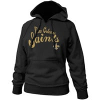 New Orleans Saints Ladies Black Takeaway Raw Edge Pullover Hoodie Sweatshirt