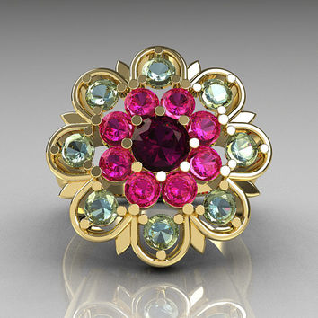 Modern Edwardian 18K Yellow Gold Amethyst Pink Sapphire Aquamarine Cocktail Flower Ring R101-18KYGAMPSAQ