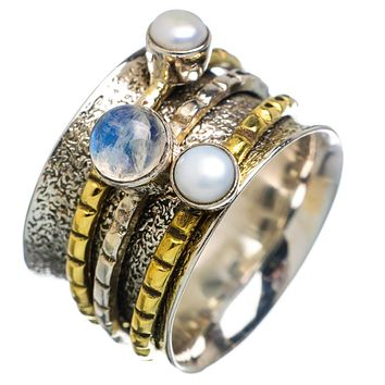 Spinner Ring Two Tone Pearl & Moonstone Spinner