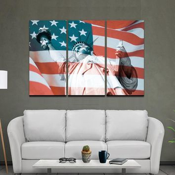 3Panel American USA United States of America Flag Canvas Wall Art Print On canvas painting Home Decor Picture Modular  Framed