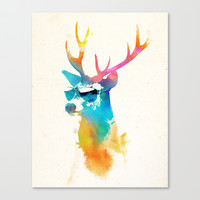 Sunny Stag Stretched Canvas by Robert Farkas
