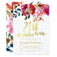Elegant Floral White Gold 21st Birthday Party Invitation