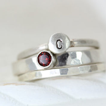 Trio of Love Ring Set - Birthstone Ring - Personalized Initial Pebble Ring - Sparkly Band - Sterling Silver - Christina Guenther