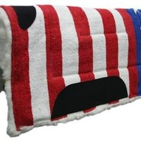 Tahoe Tack Patriotic American Flag Saddle Pad with Fleece Lining 32 X 32