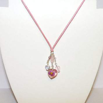 Pink Charm Necklace with Swarovski Crystals, Lampwork and Heart Shaped Beads, Suede Thonging,  Hand Crafted, Ooak