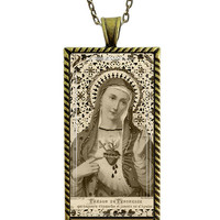 Immaculate Heart  Necklace Holy Mother Jewelry French  Holy Card Art Necklace