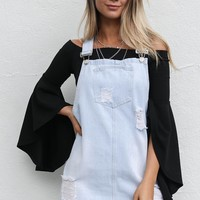 SZ L Austin Nights Denim Overall Dress