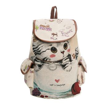 University College Backpack Aelicy Canvas s for  Women Lovely Cat Printed Drawstring  Teenager Large Capacity Ladies School BagAT_63_4