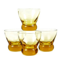 Eva Zeisel 'Prestige' Whiskey Glasses, Spiral Optic Bowl in Amber-Yellow