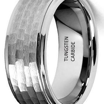 CERTIFIED 8mm Hammered Tungsten Wedding Band