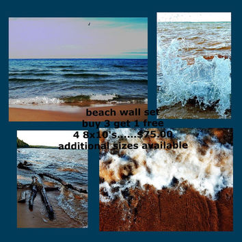 Beach photography sale Lake Superior beach house wall art blue tan brown decor large photo wall art home decor buy 3 get 1 free