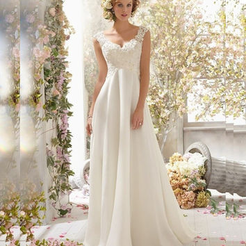 Vestidos De Novia 2016 New Arrival Dress Elegant Applique Wedding Dresses Chiffon vestidos de novia Beach Bridal Gowns 2016