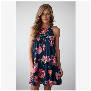 [13261] Halter Neck Boho Floral Print Chiffon Casual Sleeveless Short Dress