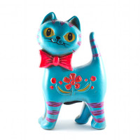 Aqua Cat Piggy Bank w Neon Pink Bow and Flowers Hipster Kitsch Retro / Vintage 60s 70s