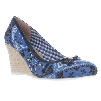 Nina Murial Wedge Espadrille Pumps, Blue Bandana, 6.5 US