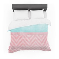 "Ingrid Beddoes ""Light Chevron Pink & Turquoise"" Blush Aqua Featherweight Duvet Cover"