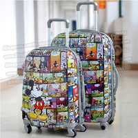 "24"" inches lovely Mickey Mouse cartoon trolley suitcase luggage/Pull Rod trunk /traveller case box with spinner wheels"