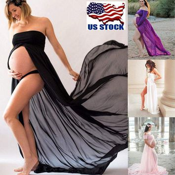 Pregnant Women Long Maxi Dress Maternity Dress Gown Photography Prop Clothes USA