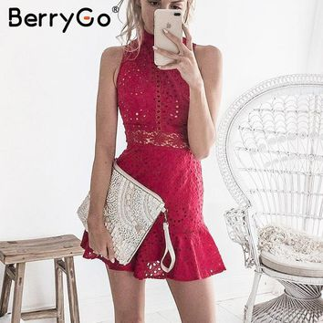 BerryGo Hollow out halter summer dress Women floral embroidery lace dress Sleeveless 2018 vintage short dress red vestidos