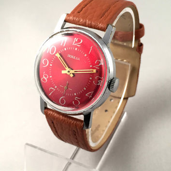 "Vintage men's ""ZIM - POBEDA"" wristwatch, with deep red dial! Comes with brand new leather band!"
